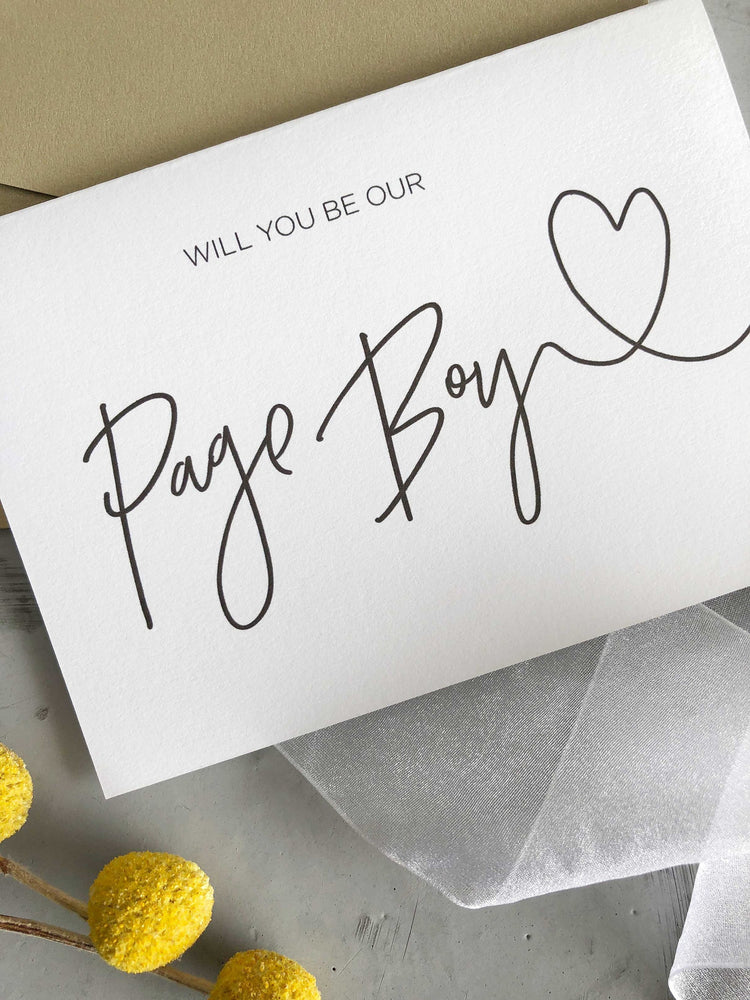 """Will You Be Our Page Boy"" Wedding Card"
