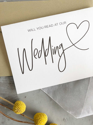 """Will You Read at our Wedding"" Card"