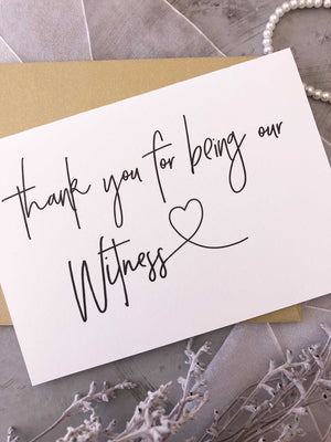 """Thank You For Being Our Witness"" Wedding Day Card for Modern Wedding"