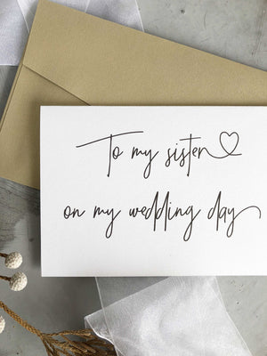 To My Sister on My Wedding Day Card, Gift for Sibling of the Bride