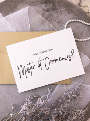 """Will You Be Our Master of Ceremonies?"" Black and White Modern Wedding Day Card"