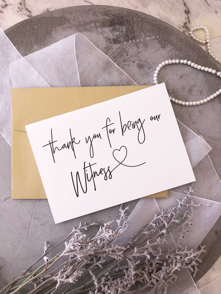 "Load image into Gallery viewer, ""Thank You For Being Our Witness"" Wedding Day Card for Modern Wedding"