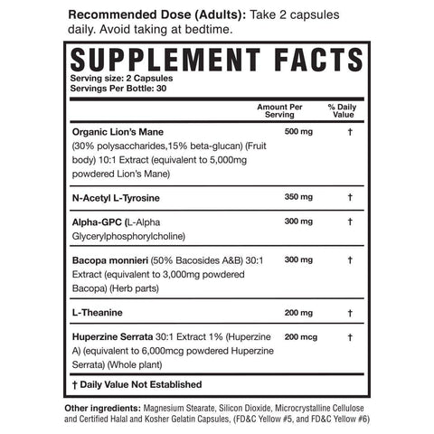 Magnum Mane Brain Supplement Facts