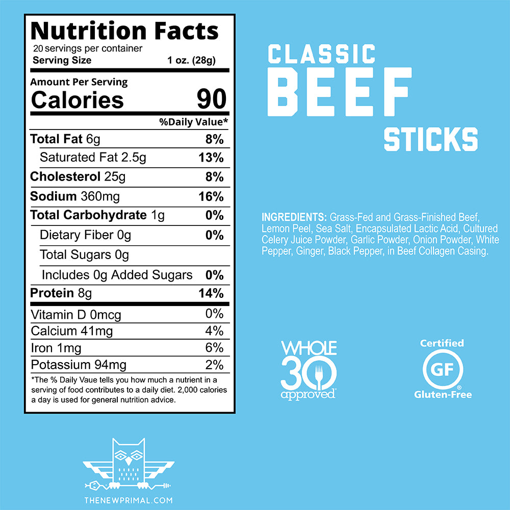 Classic Beef Meat Sticks <br> 100% Grass-Fed Beef <br> Whole30 Approved® (10 Sticks)
