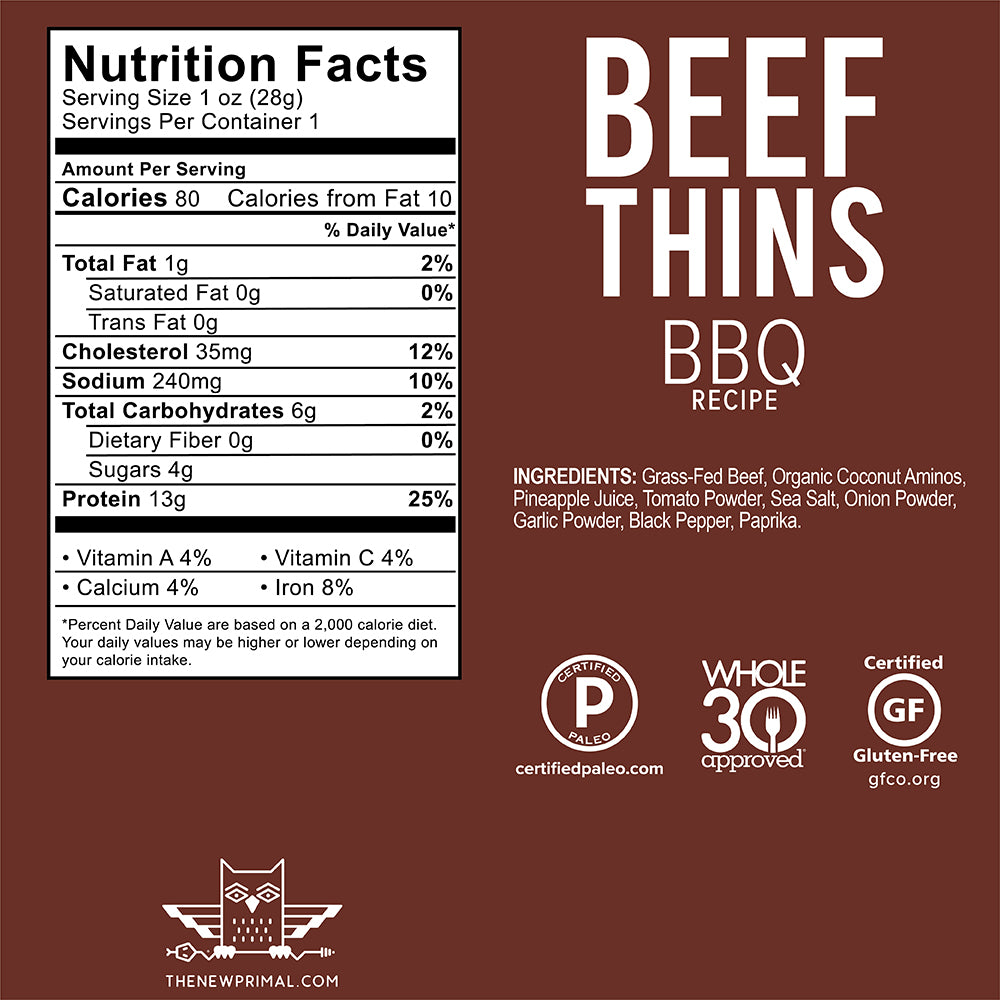 BBQ Beef Thins® 100% Grass-Fed Beef (8 Bags) Whole30 Approved®