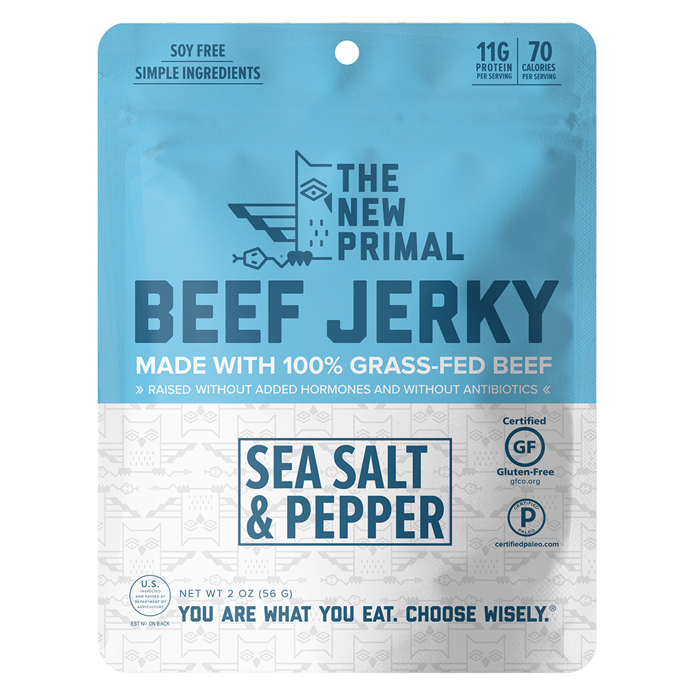 Sea Salt & Pepper Jerky 100% Grass-Fed Beef (8 Bags)
