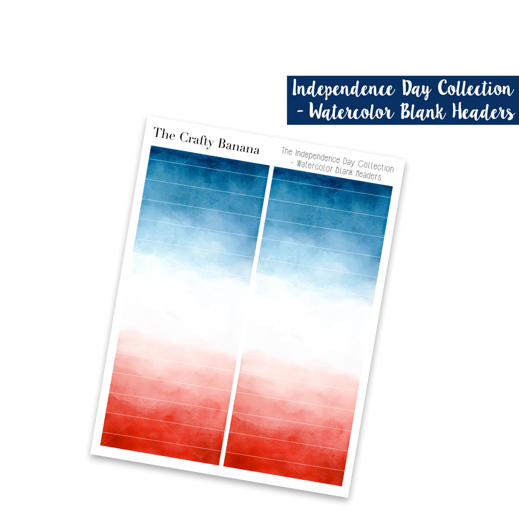 Independence Day Collection: Watercolor Blank Headers