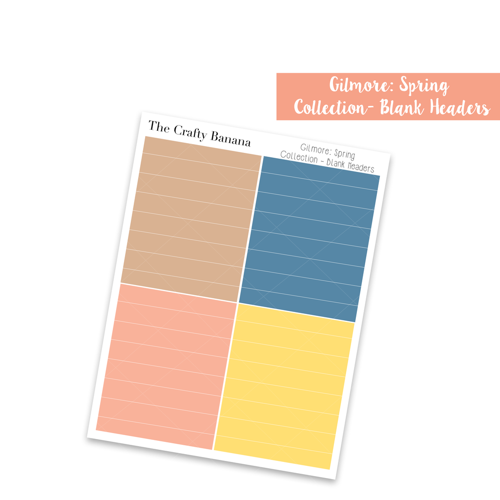Gilmore: Spring Collection: Colorful Blank Headers
