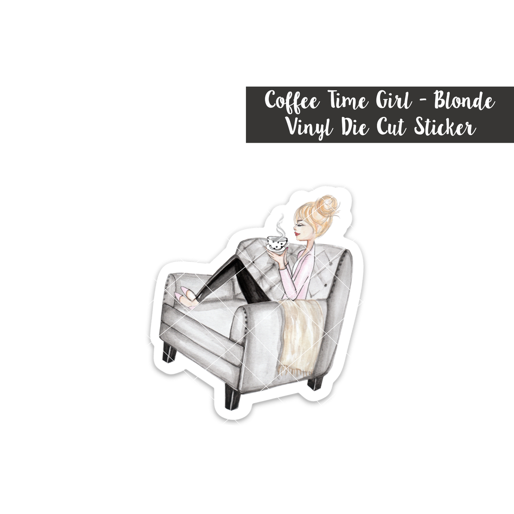 Coffee Time Girl: Blonde - Vinyl Die Cut Sticker