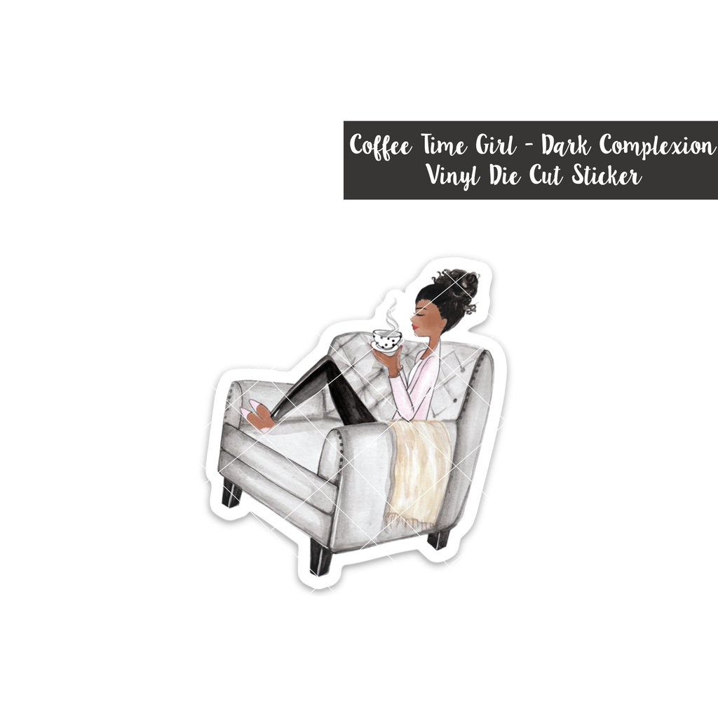 Coffee Time Girl: Dark Complexion - Vinyl Die Cut Sticker