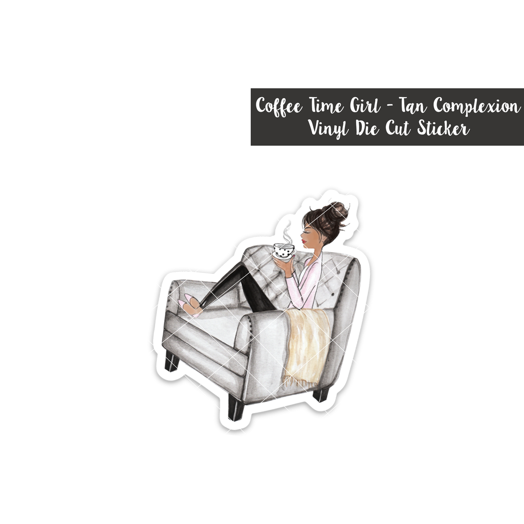 Coffee Time Girl: Tan Complexion - Vinyl Die Cut Sticker