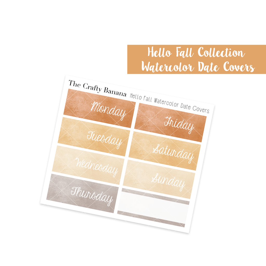 Hello Fall Watercolor Date Covers