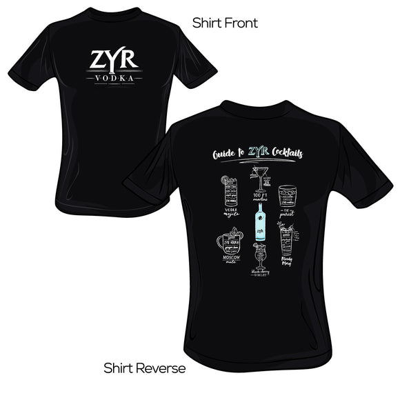 Zyr Vodka Guide to Cocktails Tee - V.1