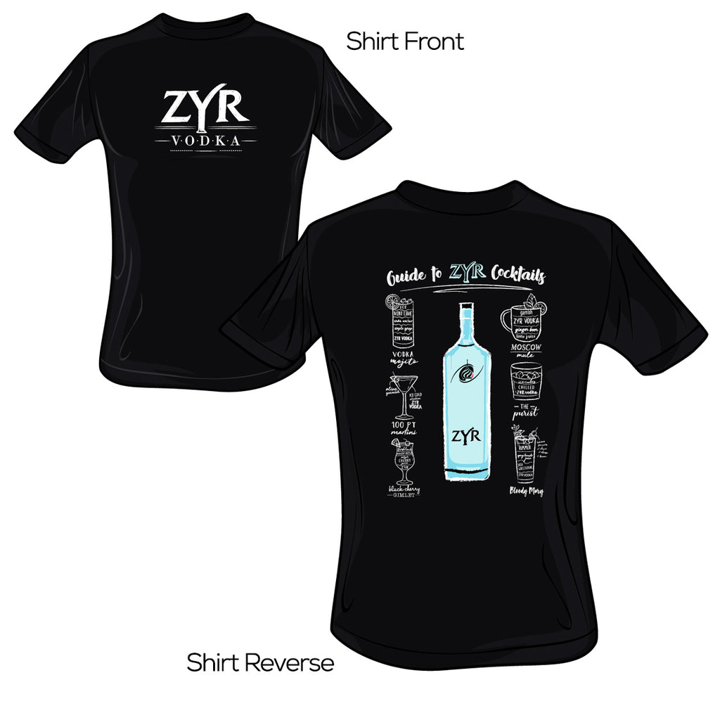 Zyr Vodka Guide to Cocktails Tee - V.2