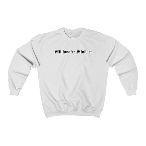 Millionaire Mindset White Graphic Crewneck Pullover
