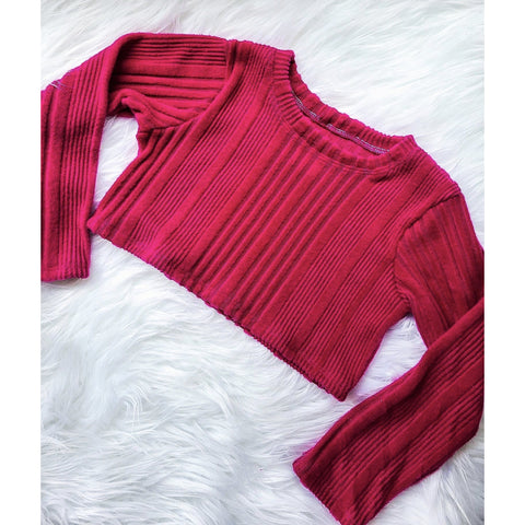 Berry Ribbed Long Sleeve Crop