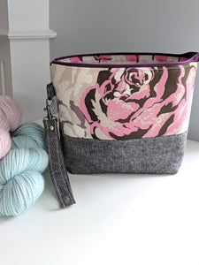 TWIGGY PETITE | ready to ship -  medium-sized project bag, fabric yarn bowl, knitting bag, or makeup bag