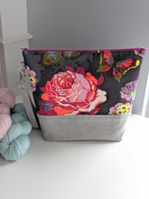 Load image into Gallery viewer, TWIGGY | ready to ship -  extra tall + large project bag, fabric yarn bowl, knitting bag, or makeup bag