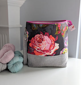 TWIGGY | ready to ship -  extra tall + large project bag, fabric yarn bowl, knitting bag, or makeup bag