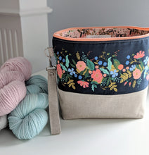 Load image into Gallery viewer, TWIGGY PETITE | ready to ship -  medium-sized project bag, fabric yarn bowl, knitting bag, or makeup bag