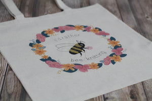 """I'd Rather Bee Knitting"" Tote"