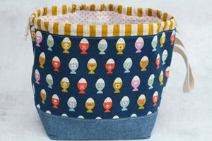 ORIGINAL FINCH BUCKET No. 8 | ready to ship |  large project bag, toy basket, yarn bowl