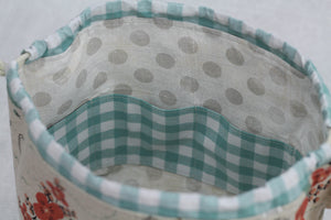 LITTLE FINCH BUCKET No. 1 | ready to ship |  medium-large project bag, toy basket, yarn bowl