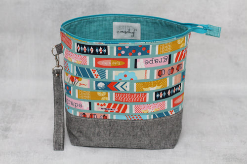 TWIGGY No. 1 | ready to ship -  extra tall + large project bag, fabric yarn bowl, knitting bag, or makeup bag