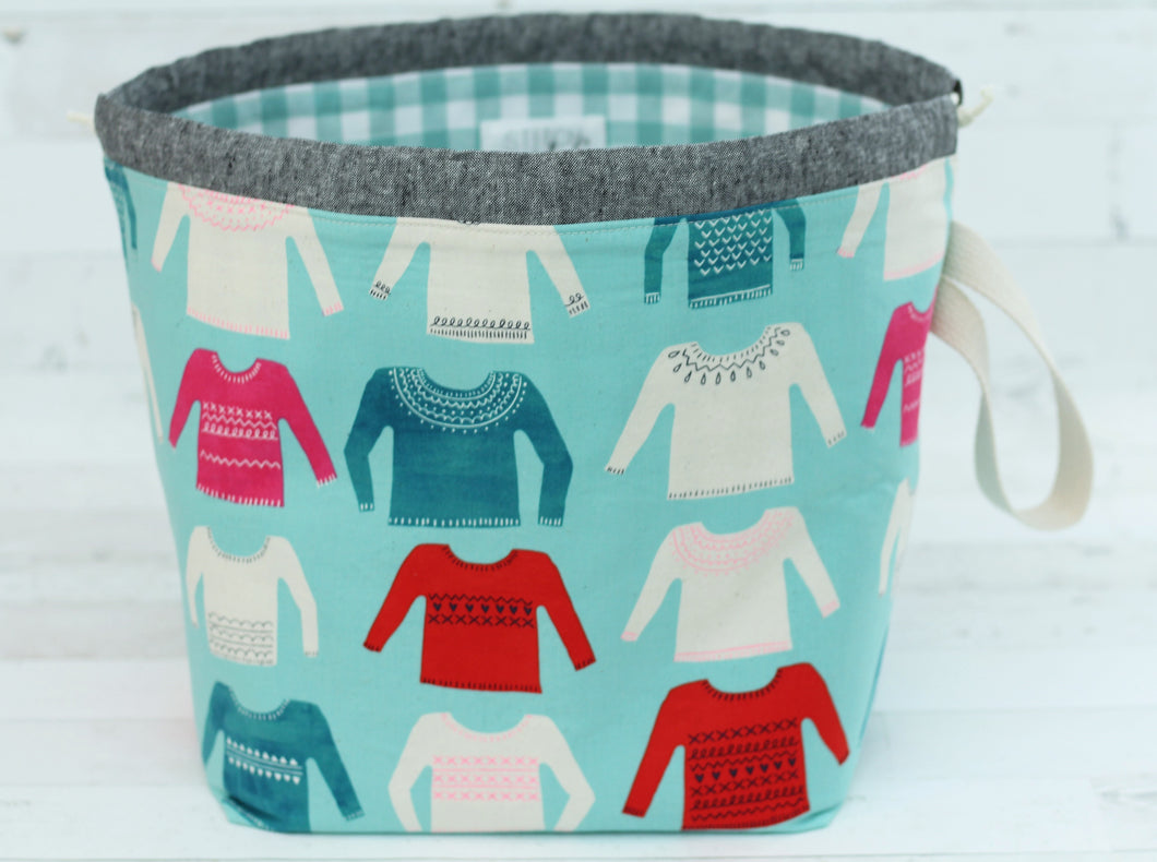 ORIGINAL FINCH BUCKET No. 2 | ready to ship |  large project bag, toy basket, yarn bowl