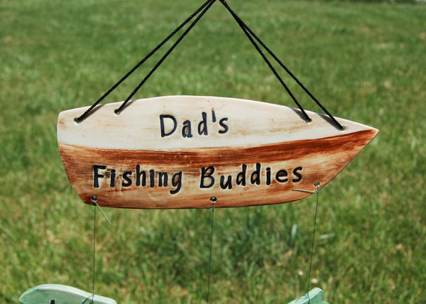 Dad's Fishing Buddies Custom Family Ceramic Wind Chime