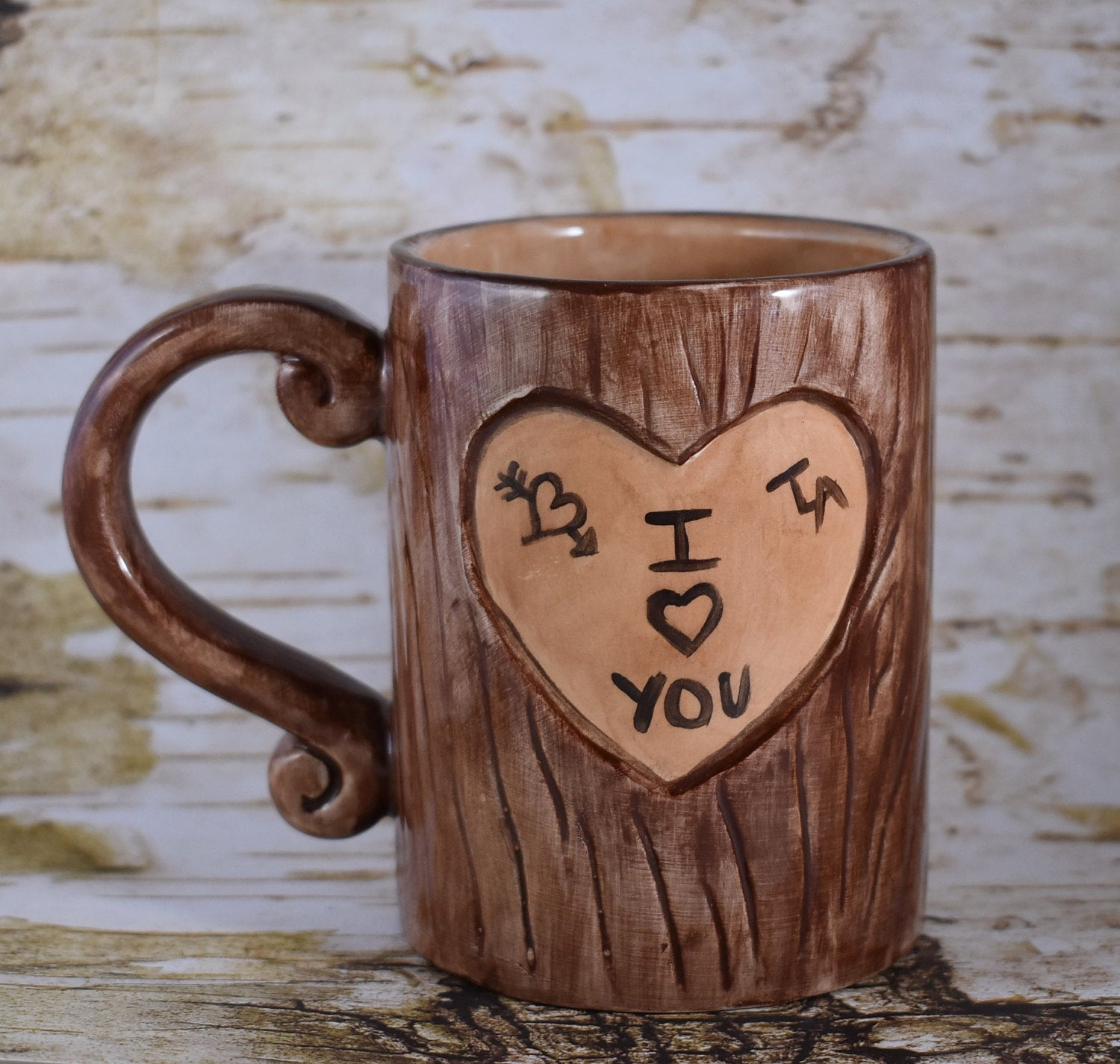 Lovers Mug, Tree Carving Mug