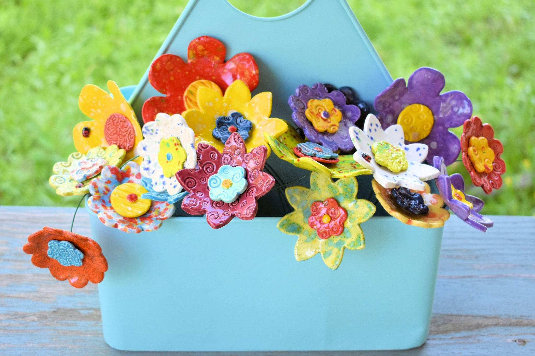 One Dozen Ceramic Flowers