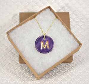 Initial Necklace, Handmade Porcelain Monogram Pendant with 22kt Gold Trim, Letter Pendant, Purple Initial Pendant, Oval Monogram Charm