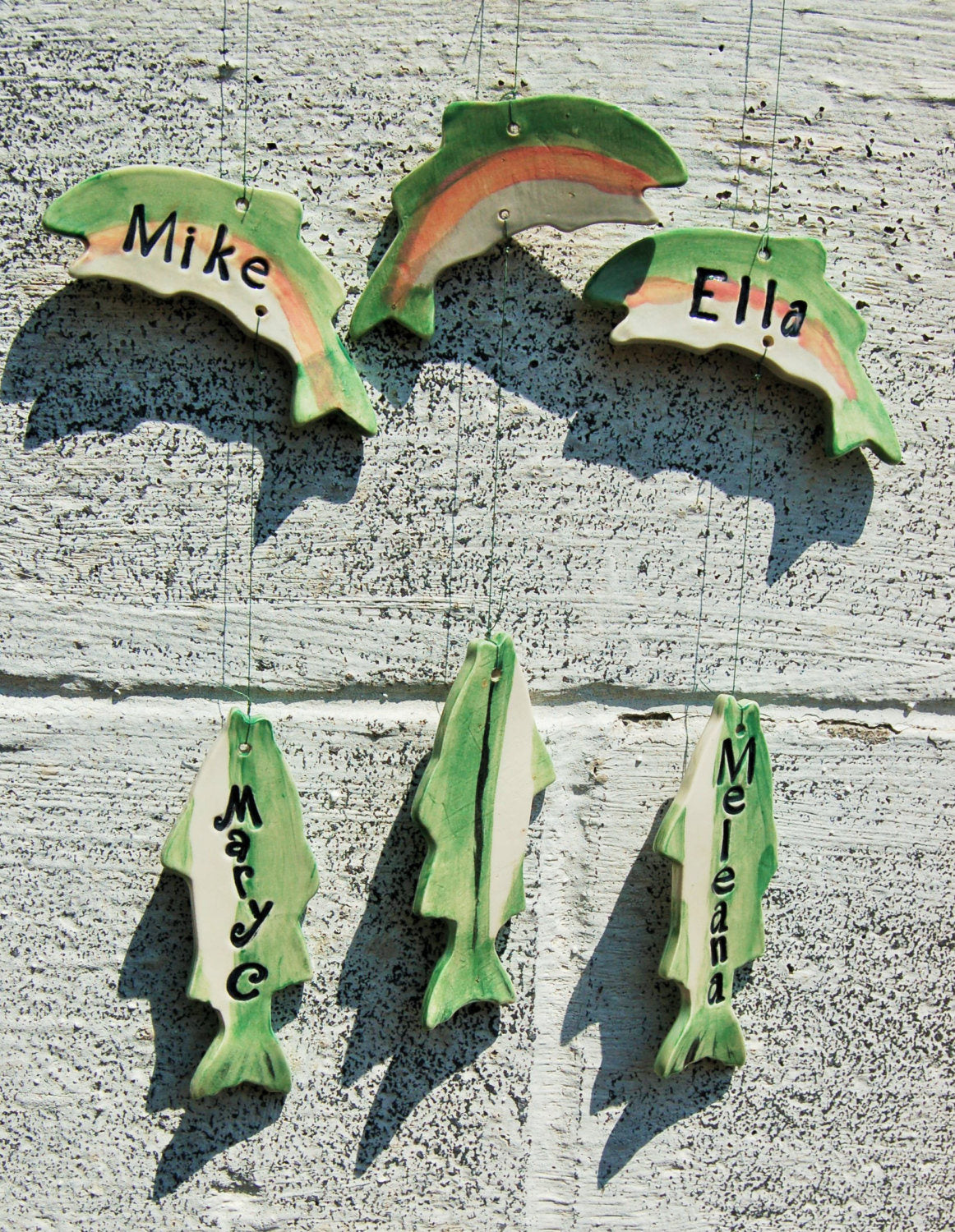 Extra Fish for Grandpa's Fishing Buddies Ceramic Wind Chime