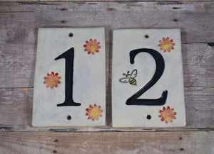 Flower and Bee House Numbers
