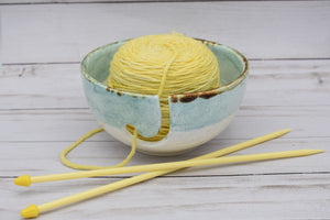 Ceramic Yarn Bowl, Jade and White, Handmade Yarn Bowl