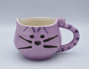 Lavender Tabby Cat Mug, Purple Kitty Cup, Cat Lovers Mug, Handmade Mug, Ceramic Mug, Tea Mug, Cat Lover Gift