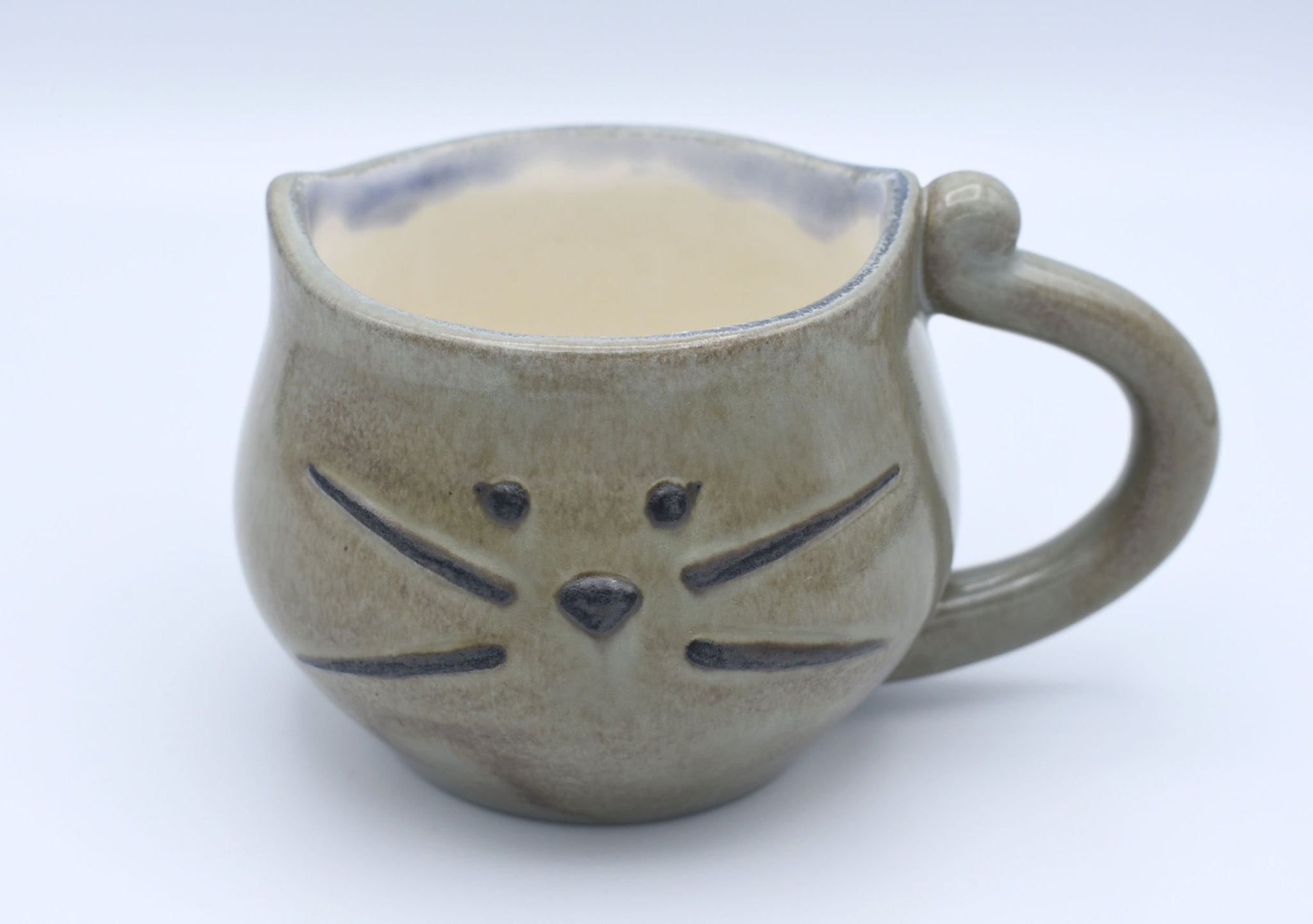 Grey Kitty Mug, Kitty Cat Cup, Cat Lovers Mug, Handmade Mug, Ceramic Mug, Tea Mug, Cat Lover Gift