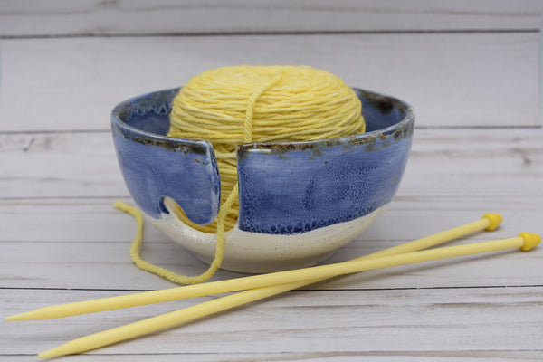 Ceramic Yarn Bowl, Blue and White, Handmade Yarn Bowl