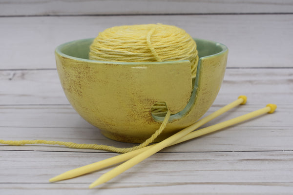 Ceramic Yarn Bowl, Yellow and Jade; Handmade Yarn Bowl