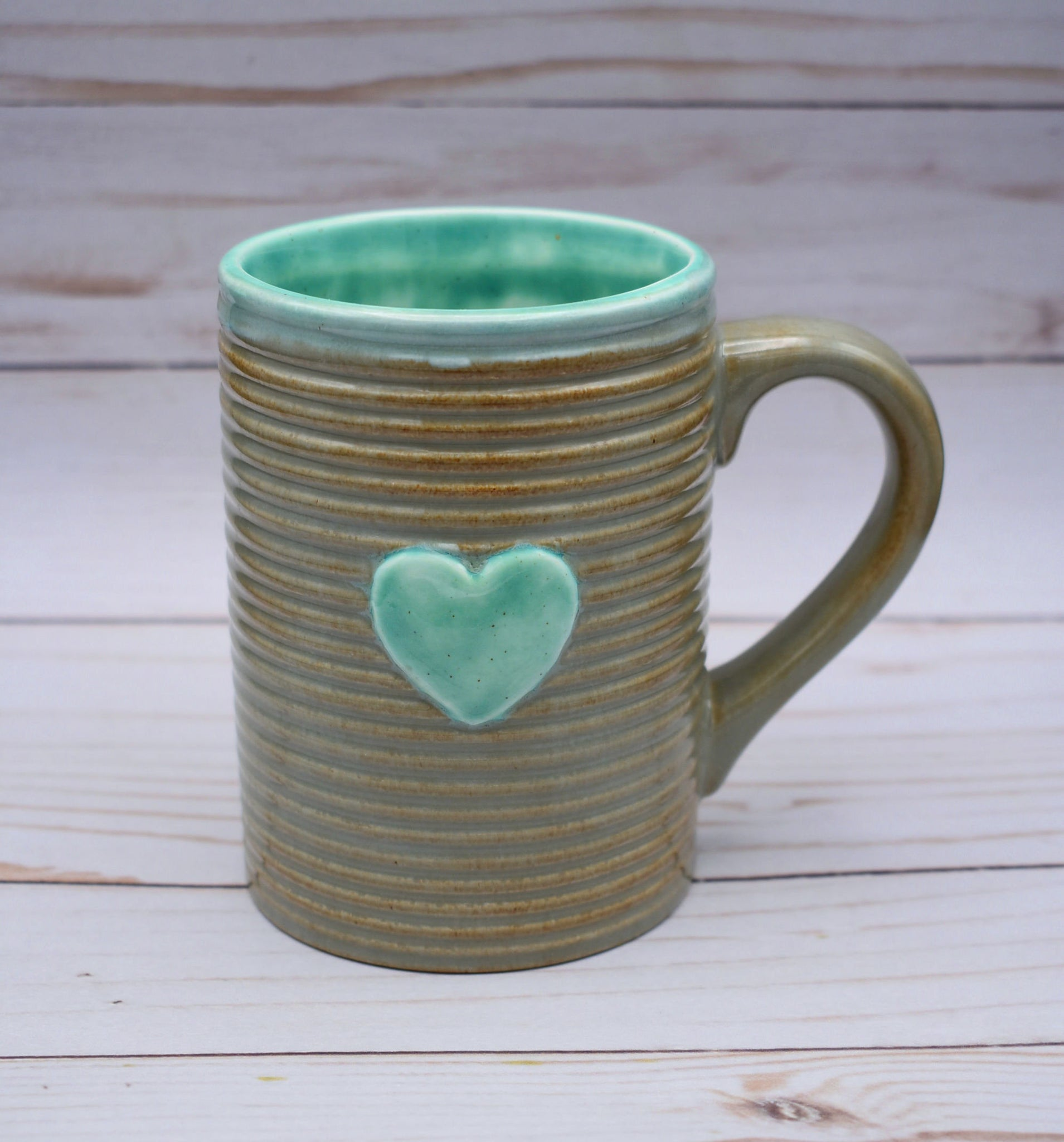 Lovers Mug, Teal and Grey Heart Mug, Coffee Lover's Mug, Turquoise and Grey Coffee Cup