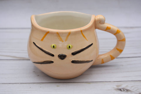 Orange Tabby Cat Mug, Marmelade Kitty Cup, Cat Lovers Mug, Handmade Mug, Ceramic Mug, Tea Mug, Cat Lover Gift