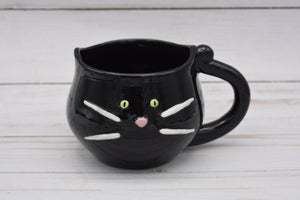 Black Cat Mug, Green-eyed Black Kitty Cup, Cat Lovers Mug, Handmade Mug, Ceramic Mug, Tea Mug, Cat Lover Gift