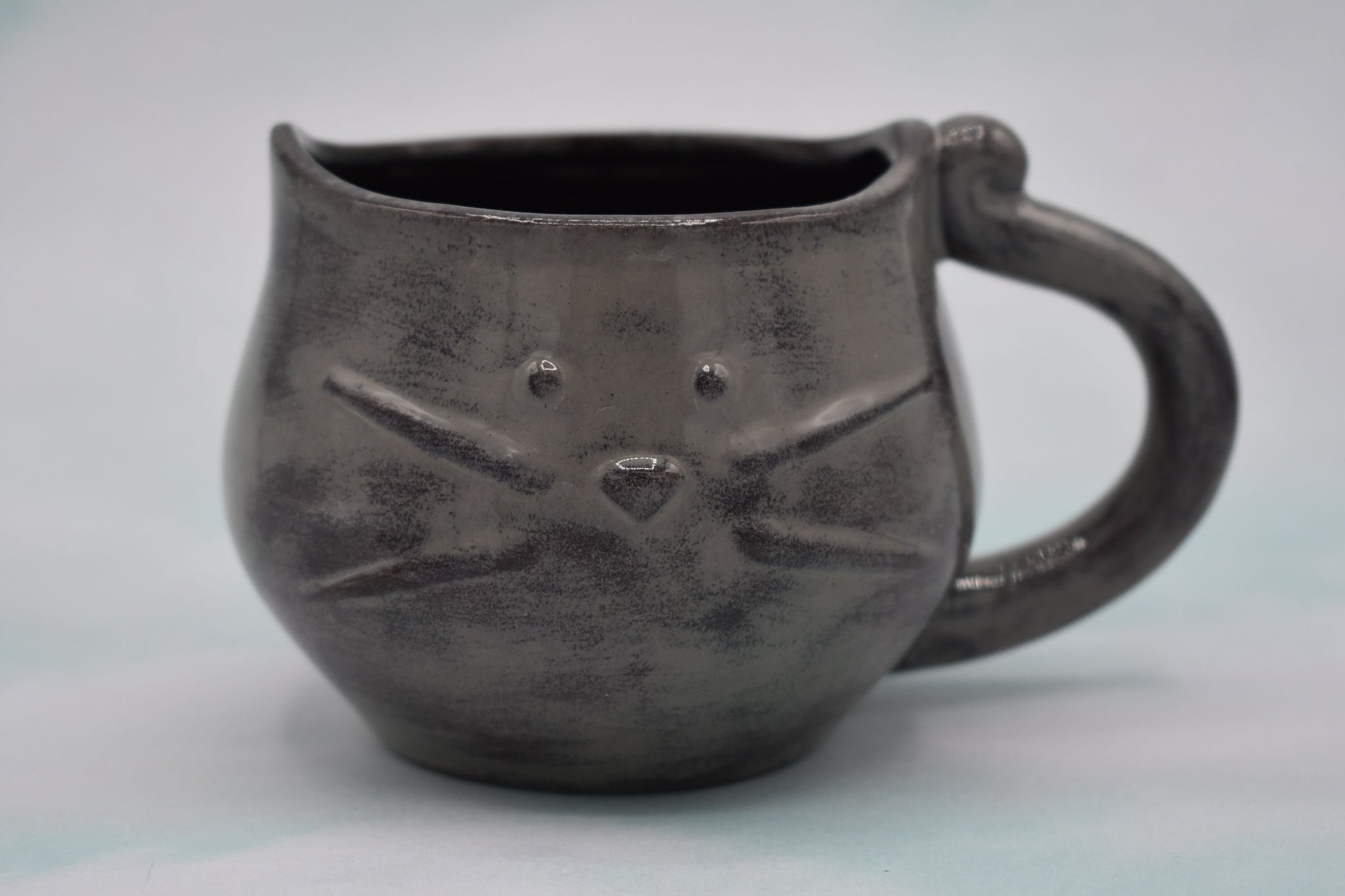 Grey and Purple Kitty Mug, Kitty Cat Cup, Cat Lovers Mug, Handmade Mug, Ceramic Mug, Tea Mug, Cat Lover Gift