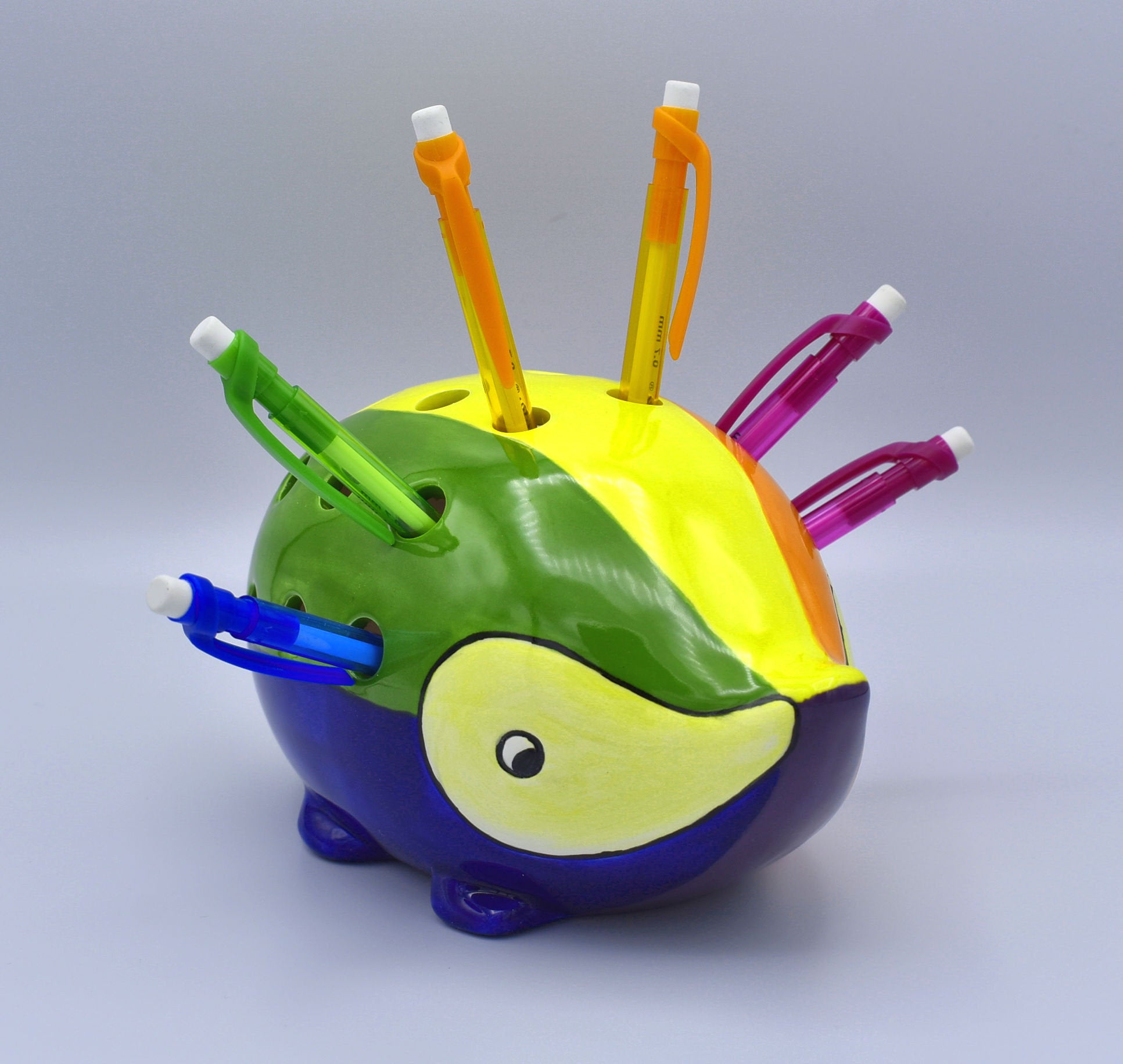 Rainbow Hedgehog Pencil Holder, Happy Hedgehog Desk Organizer