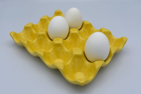 Yellow Egg Tray, Reusable Ceramic Egg Tray, Eco Friendly Egg Storage