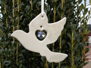 Porcelain Dove Ornament with Swarovski Crystal