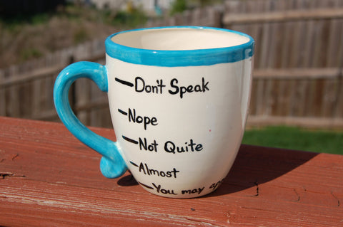 "Curvy Coffee Levels ""Don't Speak"" Ceramic Coffee Mug"
