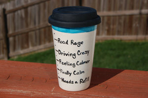 "Coffee Levels ""Road Rage"" Ceramic Travel Mug"