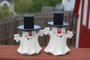 "Halloween ""Candle Hat Ghost"" Candle Holders, Set of 2"